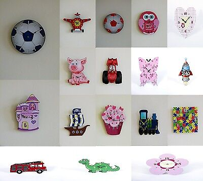 Childrens Boys Girls Novelty Shaped Duo Wall Mounted Bedroom Clocks / Desk Clock