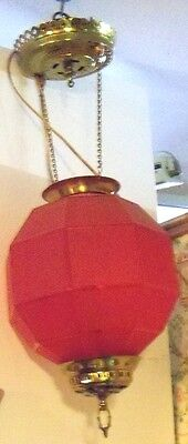 Old Antique Red Satin Glass Consolidated Hanging Hall Lamp Electrified
