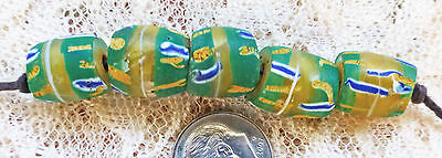 5 MATCHED VINTAGE AFRICAN MILLEFIORI TRADE BEADS yellow, green, blue, white