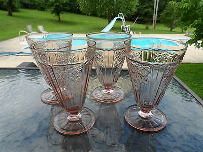 """4) PINK MAYFAIR """"OPEN ROSE"""" 5 1/4"""" FOOTED TEAS HOCKING DEPRESSION GLASS 1931-37"""