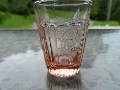 """PINK MAYFAIR """"OPEN ROSE"""" VERY RARE WHISKEY HOCKING DEPRESSION GLASS 1931-37"""