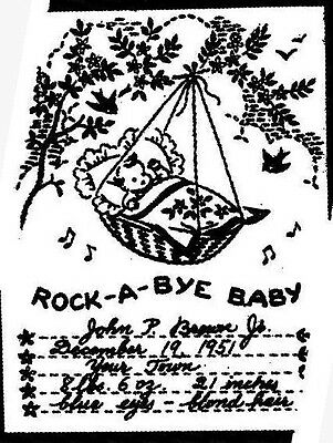 Vintage Embroidery Transfer repo 5248 Rock a bye Baby Birth Announcement