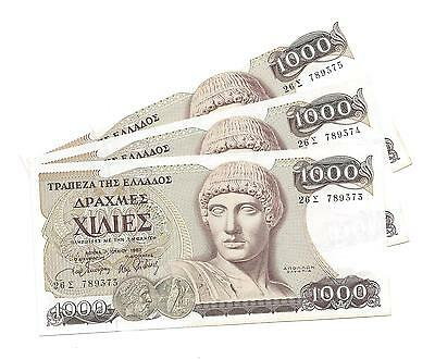 GREECE 3 x 1000 DRACHMAI 1987- UNC. Consecutive Numbers 789373-789375