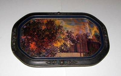 Antique Large Barbola Floral Convex Glass Picture Frame w/ Lithograph