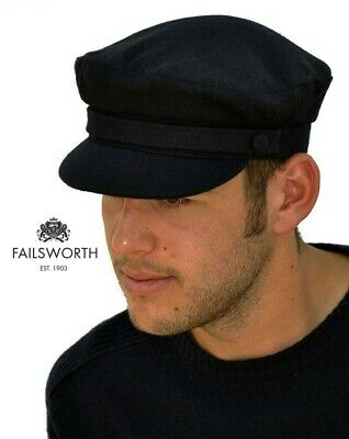 Failsworth Men's Classic Melton Wool Mariner/ Breton Cap (Navy or Black)