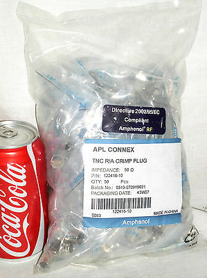 50 Amphenol Connex 122416-10 R/a Right Angle Tnc Plug Connector Lmr400 9913 9914
