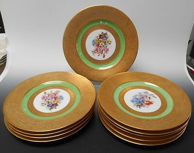 "Royal Bavarian G.E. Roy Hutschenreuther Set of 10 Dinner Plates 10 3/4"" W"