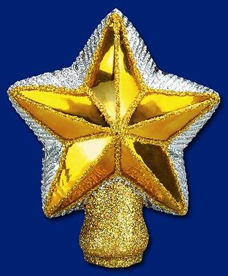 SMALL STAR OLD WORLD CHRISTMAS BLOWN GLASS TREE TOP TOPPER TREE DECORATION 50007