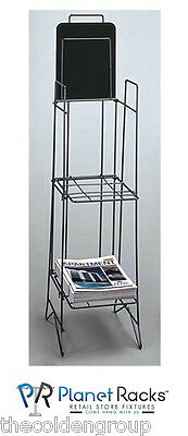 Planet Racks 2 Shelf Magazine Literature Display - Black