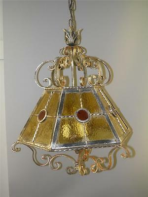 Antique Ornate Iron Stained Slag Glass Amber Red Shade Chandelier Light Fixture