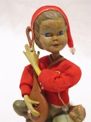 "Vintage 1950's Plastic Christmas Pixie Elf Playing a Mandolin 7"" Blow Mold Red"