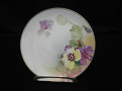 Vintage Hand-Painted Nippon Bread Dessert Plate Pansy floral design