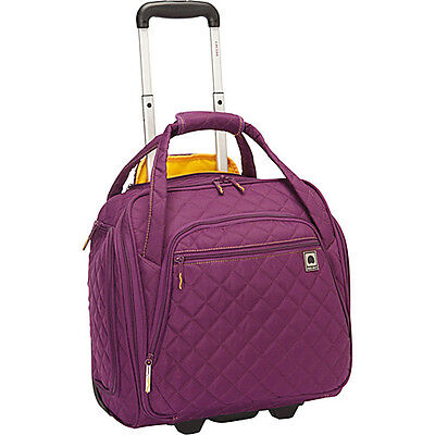 Delsey Quilted Rolling UnderSeat Tote- EXCLUSIVE Small Rolling Luggage NEW