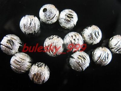 50pcs Silver Plated Copper Jewelry Findings Stardust Carving Spacer Beads 8mm