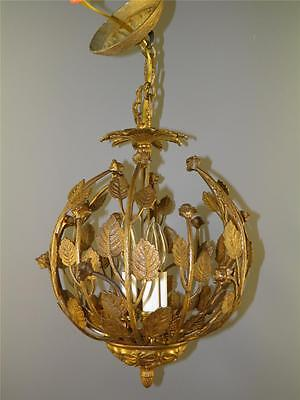 Antique Bronze Ornate Leaf Floral Roses Nest Chandelier Light Fixture