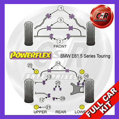 BMW E61 5 Series Touring 03-10 Rear Subframe Frt Inserts Powerflex Full Bush Kit