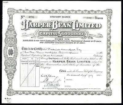 Harper Bean Ltd., pair of certs., £1 Ordinary & Preference shares, 1923/20
