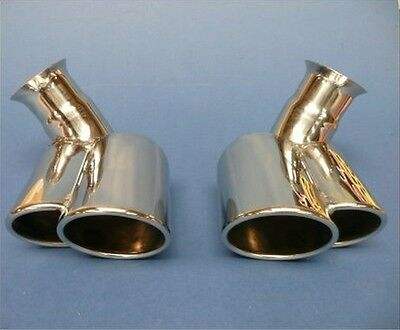 Porsche 996 Carrera Twin Tail Pipe tips Stainless Steel X50 Turbo look 1998-2001