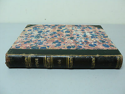 """BOUND LEATHER  BOOK, VOL 10 """"PUNCH"""" EARLY ENGLISH POLITICAL SATIRE, c. 1846"""