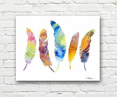 Feathers Abstract Watercolor Painting 11 x 14 Art Print by Artist DJ Rogers