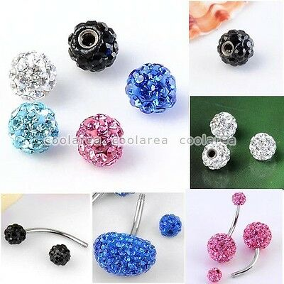 Pick 1pc Czech Crystal Ball Accessory Fit Navel Eyebrow Lip Nose Ring Piercing