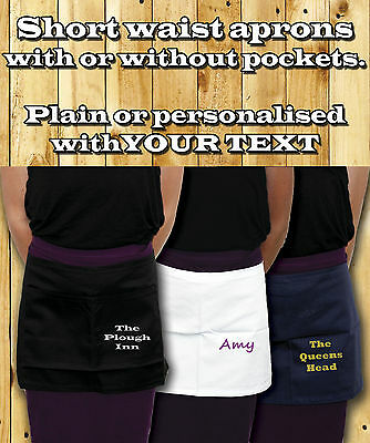 Custom Printed Half Size WAIST APRON - Pocket Or Plain Bar Cafe Waiter Waitress
