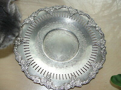 Antique Sheffield Silver Round Tray/Underplate  Reticulated & Engraved w GRAPES