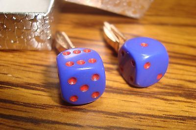 "Purple & Red 1/2"" 12mm Lucky ""7"" Dice Cuff links 1 Pair (Two) * Gold Plated -NEW"