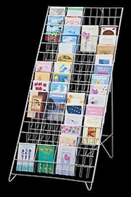 """AYS Retail 60 Pocket 5"""" x 7"""" Greeting Card Product Floor Easel Display (White)"""