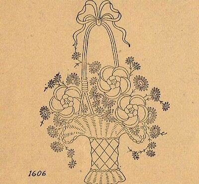 Vintage Embroidery Transfer repo 95 Basket of Flowers for Bedspread or Quilt top