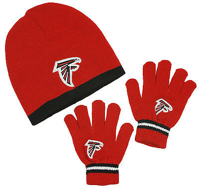 Atlanta Falcons NFL Football Kids Knit Hat and Gloves Set - Red (Kids Sizes 4-7)