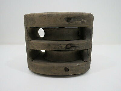 Old All Wood Double Pulley Ship Sail Boat Pully  (#84)