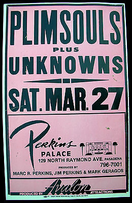 PLIMSOULS Perkins Palace 1982 Boxing Style Cardboard CONCERT POSTER PUNK Case