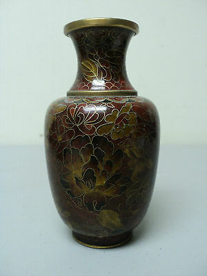 "Gorgeous Antique Miniature Chinese Cloisonne 5.5"" Vase, Gold, Red Floral Design"