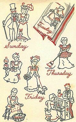 f26caf23dbfc9a Vintage Embroidery Transfer repo 1551 Gay Nineties for Days of the Week  Towels