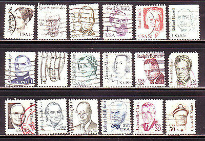 * 1844//1869 * GREAT AMERICANS * COLLECTION LOT OF 18 DIFFERENT  USED (1980-85)