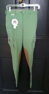 NWT HIGH LINE OUTFITTERS Bright Green Front Zip Cargo Pocket Riding Breeches