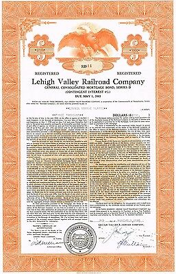 """""""The Lehigh Valley Railroad Company"""" Mortgage Bond Ornate Engraved Punched 1949"""