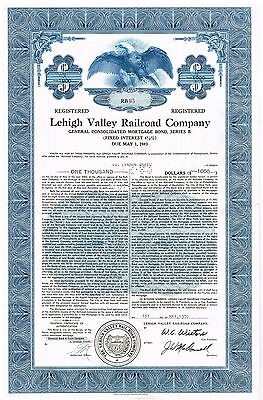"""""""The Lehigh Valley Railroad Company"""" Mortgage Bond Ornate Engraved Punched 1970"""