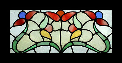 Stunning Art Nouveau Floral Antique English Stained Glass Window • CAD $3,287.79