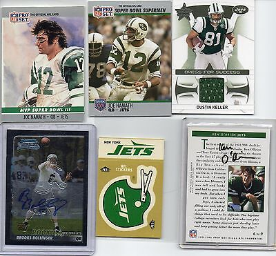 140 CARD LOT JETS MOIXED YEARS BRANDS JERSEY CARD AUTO RC'S MORE