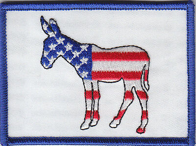 Democrat/Democratic Party Flag Patch Donkey/Jackass Red White & Blue US Flag