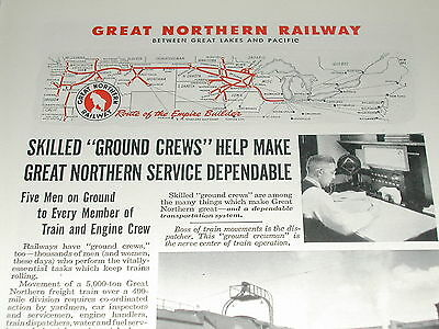 1944 Great Northern Railway advertisement, GN, route map, ground crew