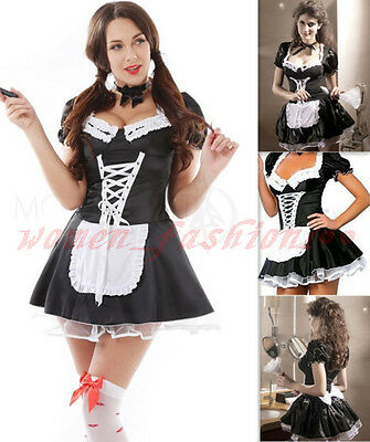 Sexy Adult Ladies French Maid Halloween Costume Fancy Dress Up Hens Party Outfit