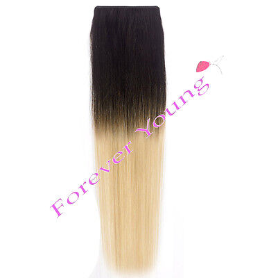 Clip-in Dip Dye Ombre Remy Human Hair Extensions Natural Black to Light Blonde