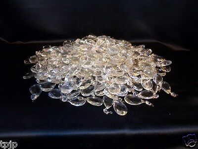 "12 Antique 2"" Chrystal Octagon Teardrop Prisms"