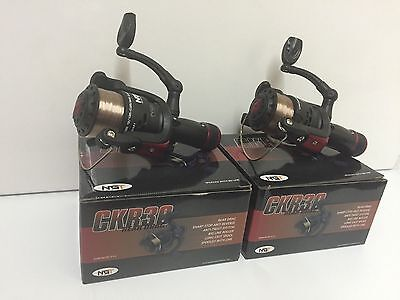 2 x NGT CKR30 CARP COARSE FLOAT FEEDER FISHING REELS 1BB REEL WITH 8LB LINE