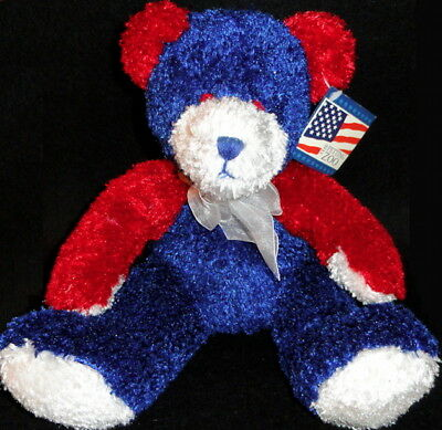 PETTING ZOO July Patriotic Red White & Blue TEDDY BEAR Fluffy Bean Filled PLUSH