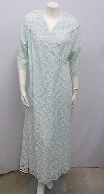 Vintage Lucie Ann Lace Robe Blue & Off White 50's 60's Small/medium