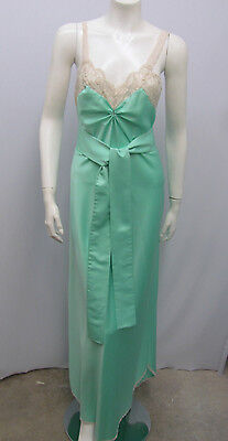 Vintage Claire Sandra By Lucie Ann Nightgown Jade Green Lace Very Sexy Size 32 S